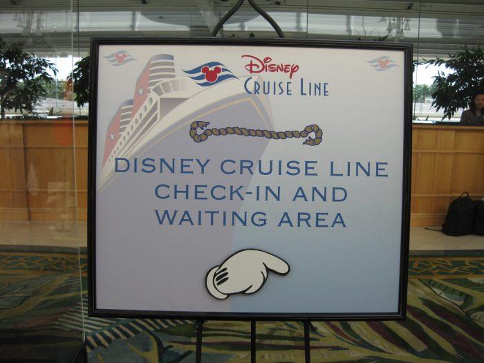 Embarkation Day sign inside the Hyatt Orlando Airport