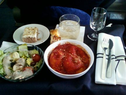Dinner in American Airlines First Class from DFW to MCO
