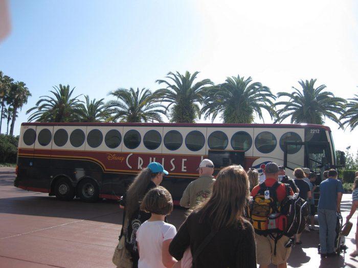 Boarding the Disney Cruise Line transfers motorcoach